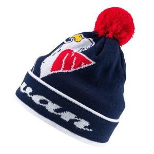 Beanie for adults with knitted logo and ball on top - 2nd beanie free