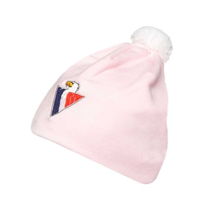 Baby beanie with ball on top - pink