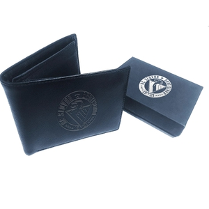 Leather wallet with embossed logo